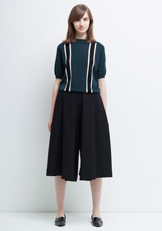 Le Ciel Bleu Intersia Striped Pullover and Culottes