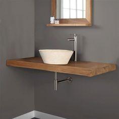 Salle De Bain Couleur Lin Plan Vasque Planches De Bois Plan - Plan sous vasque salle de bain