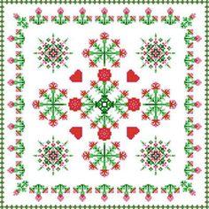 Square Carnation Design cross stitch pattern.