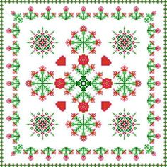 Square Carnation Design cross stitch pattern.
