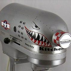 """I have a KitchenAid mixer and I'm not afraid to """"mod"""" it.and I'm inspired by this classic """"nose art"""" style paint job. Mine would have to be fantasy dragons, not WWII pin-up girls or mean fighter plane designs. Kitchen Gadgets, Kitchen Appliances, Kitchen Stuff, Kitchen Ideas, Kitchens, Kitchen Humor, Awesome Kitchen, Kitchen Tools, Kitchenaid Stand Mixer"""