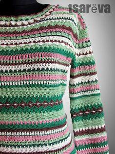 Вязаное жаккардовое платье Nikoletta. Крючок, хлопок - купить или заказать в интернет-магазине на Ярмарке Мастеров | Платье Nikoletta исполнено в зелено-розовой гамме…