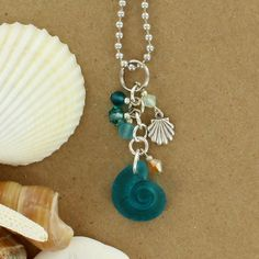 Sadie Green's Sea Glass Snail Cluster Necklace in Teal
