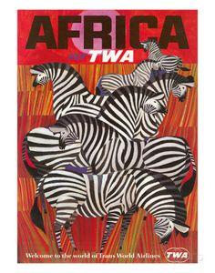 Africa - Fly TWA (Trans World Airlines) - Zebras Giclée-Druck von David Klein bei AllPosters.de
