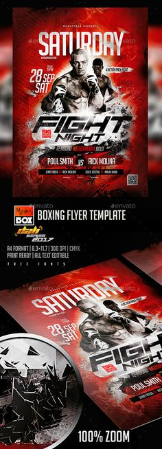 Boxing Flyer Template — Photoshop PSD #fighters #sport flyer • Download ➝ https://graphicriver.net/item/boxing-flyer-template/20505124?ref=pxcr