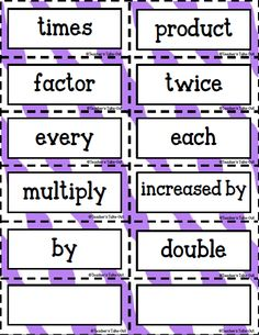 FREE Key Words for Multiplication and Division