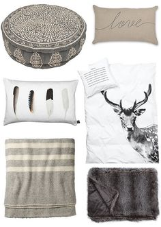 grey bedrooms by the style files...like everything except weird round pillow.