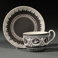 Wedgwood Black Jasper Dip Cup and Saucer