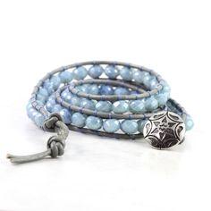 Denim Blue Wrap Bracelet Gray Leather Wrap Winter Fashion Boho Style Triple Wrap Brass Dusty Blue Bohemian Style Jewelry. $46.00, via Etsy.
