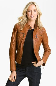 Bernardo Quilted Trim Leather Scuba Jacket | Nordstrom