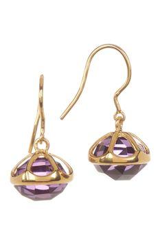 Lovely Gold Vermeil Bezel & Crown Set Faceted Crystal Drop Earrings