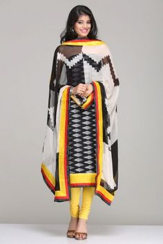 Black & Grey Unstitched Suit With A Handloom Cotton Ikat Kurta With Yellow Border And A Black And White Ikat Inspired Zigzag Print Chiffon Dupatta