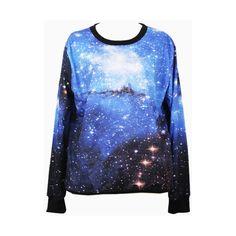 Choies Blue Galaxy Print Sweatshirt (£18) ❤ liked on Polyvore featuring tops, hoodies, sweatshirts, shirts, blue, blue top, nebula shirt, galaxy shirt, galaxy print sweatshirt and galaxy sweatshirt
