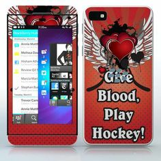 Give Blood, Play Hockey!  Abstract tattoo heart with wings  phone skin sticker for Cell Phones / Blackberry Z10   $7.95