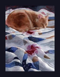 Watercolor of a cat on a quilt.
