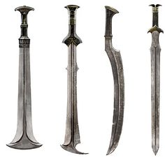 Second from the left Fantasy Sword, Fantasy Weapons, Swords And Daggers, Knives And Swords, O Hobbit, Sword Design, Arm Armor, Weapon Concept Art, Lame