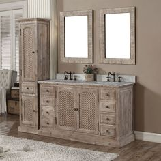 Infurniture Rustic Style Carrara White Marble Top Double Sink Bathroom  Vanity with Matching Dual Wall Mirrors and Linen Tower (Carrara White Top  60 inch ...