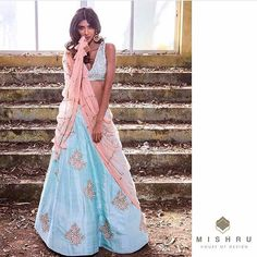 bisouNYC - Mint floral embroidered crop-top and lehenga with dusky rose dupatta. African Traditional Dresses, Indian Dresses, Traditional Outfits, Indian Outfits, Indian Clothes, Emo Outfits, Indian Attire, Indian Ethnic Wear, Floral Lehenga