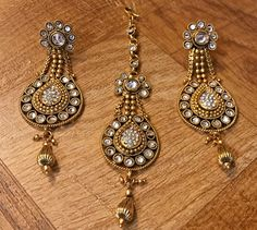 Bridal and Wedding Party Jewelry 164310: New Indian Pakistani Ethnic Antique Bollywood Gold Plated Mangtika Tika Sets -> BUY IT NOW ONLY: $30 on eBay!