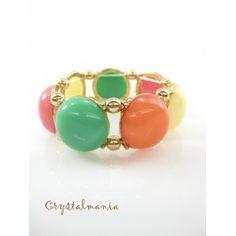Pulsera ajustable en tono verde, naranja, rosa y crema estilo 5033
