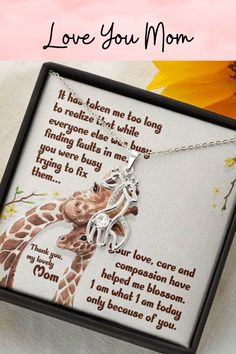A beautiful message card is the perfect gift to show mom that you love her this Mother's Day. A beautiful card and necklace, so she can keep your love close to her heart. #mother'sdaygift #giraffenecklace #momnecklace #momgifts Gifts For Pet Lovers, Gift For Lover, Gifts For Mom, Message For Mother, Giraffe Necklace, Love You Mom, Message Card, Mother Gifts, Beautiful Necklaces