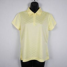 c499bd37713 EP Pro Tour Tek Womens Golf Shirt Size M Yellow Polyester Solid Short  Sleeve New Christmas
