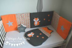 Tour lit et gigoteuse renard étoiles  orange -  gris - décoration chambre enfant forêt renard