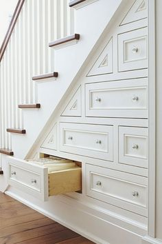 Drawers IN the stairs. Such a fantastic idea! At Home : 10 Storage Solutions