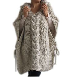 WINTER SALE Plus Size Knitting Poncho with Hoodie - Over Size Tweed Beige Cable…