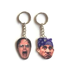 Dwight Schrute & Michael Scott Keychains : The Office Keychains #1 by Keychainery on Etsy https://www.etsy.com/listing/278164204/dwight-schrute-michael-scott-keychains