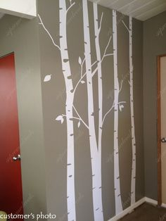 Birch Tree Winter Forest Set Vinyl Wall Decal Birch Wall - Vinyl wall decals birch tree