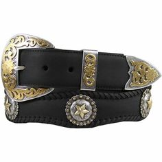Hand Polished Sterling silver and gold plated three piece buckle set and Star Berry Conchos made from hand engraved masters. Braces Suspenders, Concho Belt, Western Belts, Ring Bracelet, Bracelets, Hand Engraving, Cowhide Leather, Cowboy Boots, Westerns