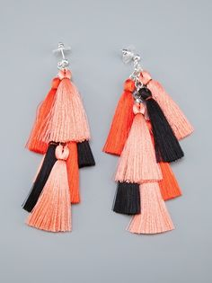I've been in a tassel earrings phase ever since my trip to India and I belie… - Tassel Jewelry Tassel Earing, Tassel Jewelry, Textile Jewelry, Fabric Jewelry, Jewellery, Gold Jewelry, Handmade Beaded Jewelry, Earrings Handmade, How To Make Tassels