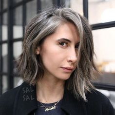 Brown And Gray Choppy Bob…great cut and color . Brown And Gray Choppy Bob…great cut and color . Grey Hair Inspiration, Gray Hair Growing Out, Covering Gray Hair, Transition To Gray Hair, Dark Hair With Highlights, Color Highlights, Cool Hair Color, Hair Colors, Ombre Hair