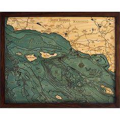 Santa Barbara Channel Islands, California 3D Nautical Carved Wood Map $135