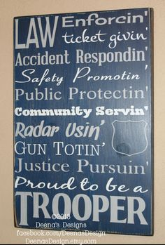 State Trooper Gift  Police Decor Distressed Wall by DeenasDesign