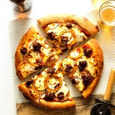 A recipe for Roasted Delicata and Spicy Italian Sausage Pizza.You can find Italian sausage pizza and more on our website.A recipe for Roasted Delicata and Spicy Itali. Gorgonzola Pizza, Prosciutto Pizza, Neapolitanische Pizza, Pizza Maker, Pizza Party, Pizza Dough, Italian Sausage Pizza, Veggie Sausage, Spoon Fork Bacon