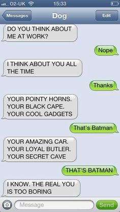 Batman Text Message - I Think About You All The Time: Do you think about me at work? I think about you all the time. Funny Dog Texts, Hilarious Texts, Hilarious Animals, 9gag Funny, Funny Animal, Epic Texts, If Dogs Could Text, Lol Text, Funny Text Conversations