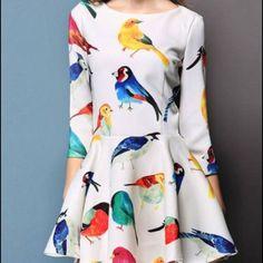 3/4 sleeve bird dress Very cute bird dress. Not lined and a little bit short but cute with leggings. New! Make an offer - I'm flexible! 💟 Yaweilong Dresses Mini