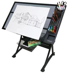 Featuring an art desk, plenty of places for your materials and an ergonomic design, it gives you a sturdy and practical space to work. This versatile art station is suitable for a range of creative disciplines; from art and craft projects to drafting and Home Art Studios, Art Studio At Home, Drawing Desk, Art Studio Design, Craft Station, Art Storage, Art Desk, Arts And Crafts Projects, Creative Art