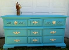 Turquoise and ivory dresser