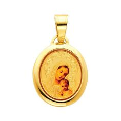 14K Yellow Gold Religious Blessed Virgin Mary and Baby Jesus Enamel Picture Charm Pendant The World Jewelry Center. $79.00. High Polished Finish. Promptly Packaged with Free Gift Box and Gift Bag. Simply Elegant. Save 61%!