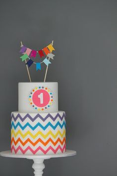 Colourful chevron and bunting 1st birthday cake - Couture Cupcakes & Cookies