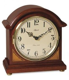 Hermle Reston Barrister Style Mantel Clock 22919-N92114. h1Hermle Reston Barrister Style Mantel Clock 22919-N92114_h1The Hermle Reston Barrister Style Mantel Clock 22919-N92114. Youll note the cherry finish with the corner inlays. This clock features dual chime quartz mov.. . See More Mantel Clocks at http://www.ourgreatshop.com/Mantel-Clocks-C1124.aspx