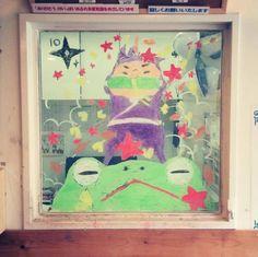 2015/2/2掲載 「ilebois」さんがおこさんの通われている保育園の窓に描かれている月替わりのイラスト作品です。10月 https://www.facebook.com/kitpas2005  #kitpas #キットパス