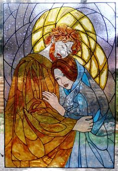 Interior : Faux Stained Glass The Warm Embrace Of A Man In A Woman As The Core Decoration On Stained Glass  Faux Stained Glass Window Ideas. Acrylic Sheet. Windows Diy.
