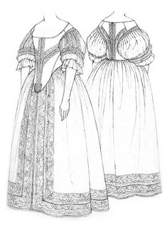 Bodice & petticoat drawing by Janet Arnold - Frauenstreet style 17th Century Clothing, 17th Century Fashion, Historical Costume, Historical Clothing, Historical Dress, Baroque Fashion, Vintage Fashion, Victorian Fashion, Baroque Dress