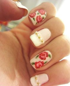 Here are the 9 great Rose Nail Art designs that you can try and embellish your nails. Rose Nail Art, Rose Nails, Flower Nails, Rose Art, Simple Nail Art Designs, Cute Nail Designs, Bridal Nails, Wedding Nails, Bridal Shower Nails