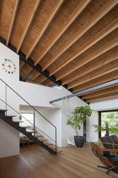 roof, office interiors, house design, japan, open spaces, home stairs, architecture, modern houses, wood beams