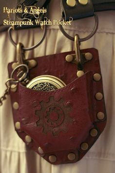 Steampunk Real Leather Watch/compass Corset Pocket Accessory Wine Cogs -- to put my pocket compass in. i think i could attach it to my sam browne belt